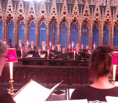 In the choir stalls at Westminster Abbey