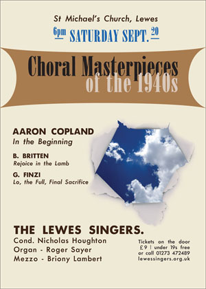 Lewes Singers concert poster 20 Sept 2014
