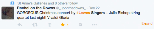 Nice Twitter comment about Lewes Singers