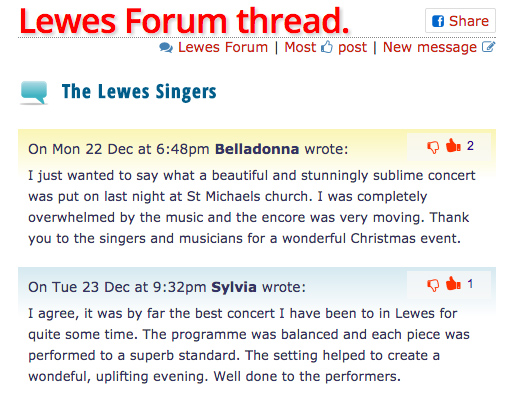 Nice comment about Lewes Singers