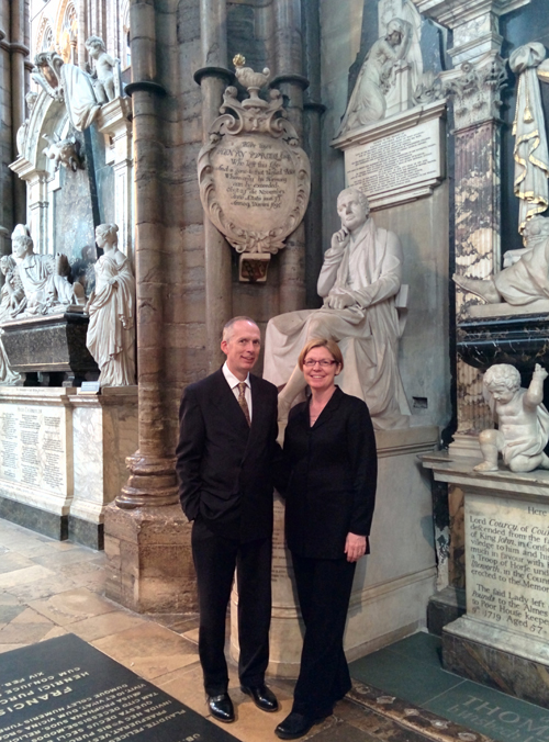 Nick & Robin Houghton at Purcell's grave, Westminster Abbey