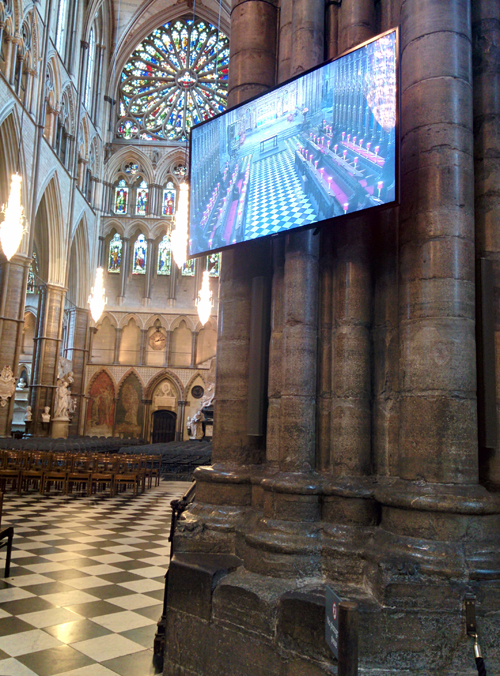 The transept at Westminster Abbey before a service