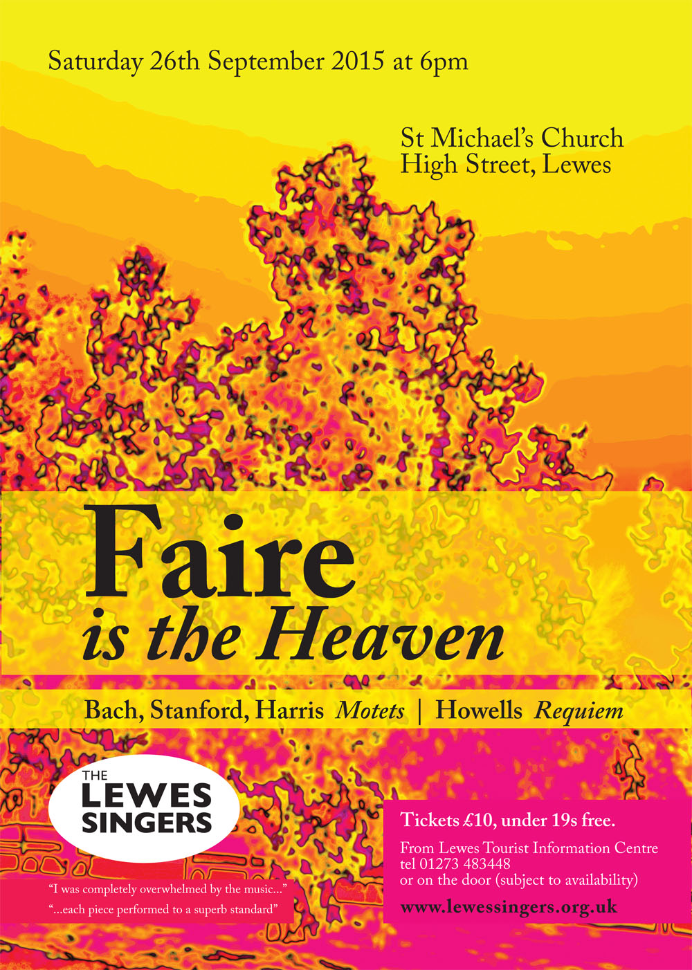 Lewes Singers Faire is the Heaven - concert 26/9 in Lewes